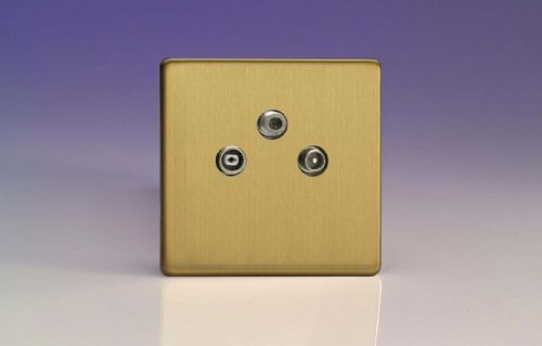 Varilight XEB3RTVS Euro Brushed Brass 3 Gang Radio/TV/Satellite Termination Socket